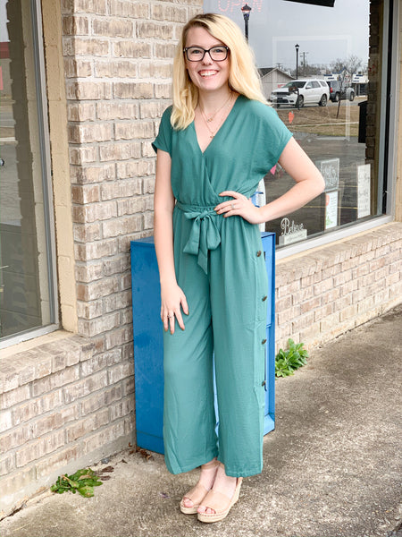 Teal Wrap Jumpsuit With Button Detailing