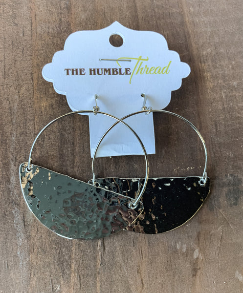Hammered Half Disk Earrings