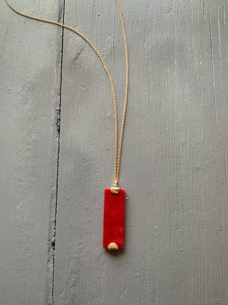 Burgundy Gemstone Pendant Necklace