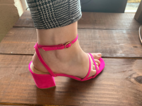 Hot Pink Kitten Block Heel