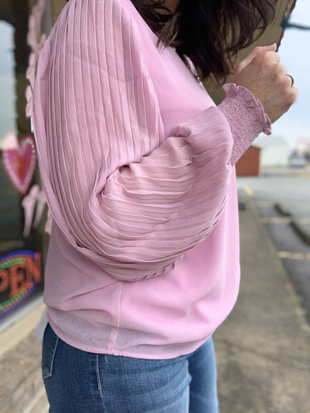 Lavender Pleated Long Sleeve Top