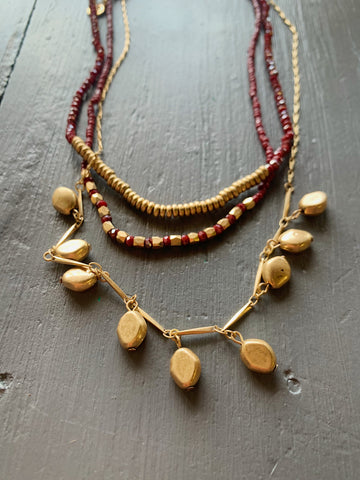 Burgundy Triple Layered Bead Necklace