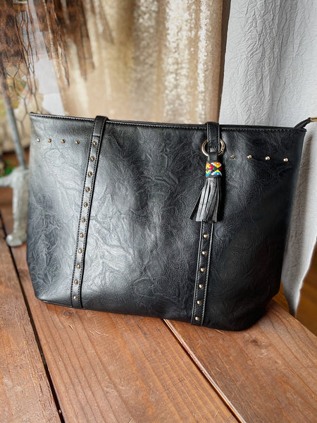 Faux Leather Studded Black Tote