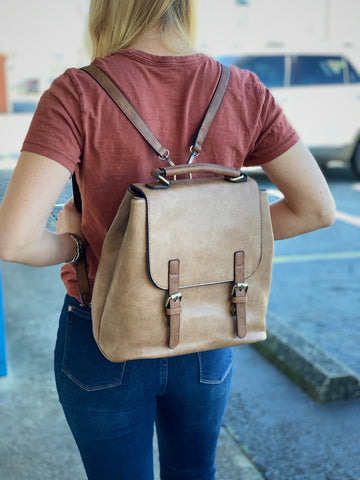 Taupe Versatile Backpack Purse