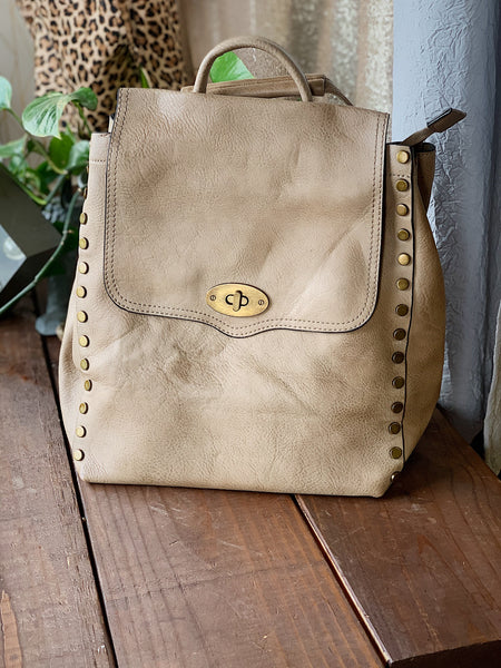 Taupe Studded Leather Backpack