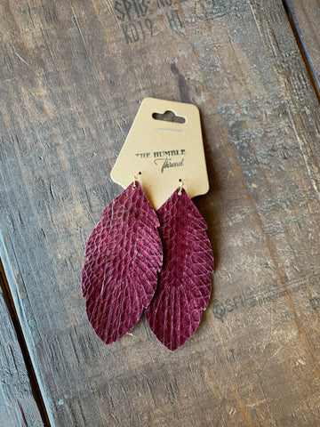 Burgundy Snakeskin Earrings
