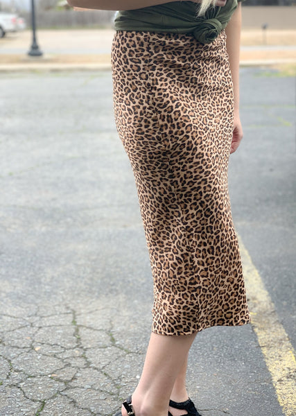 Animal Print Satin Pencil Skirt