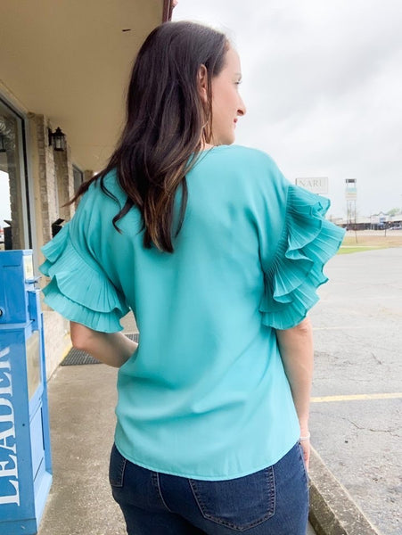 Bright Aqua Pleated Sleeve Front Tie Top
