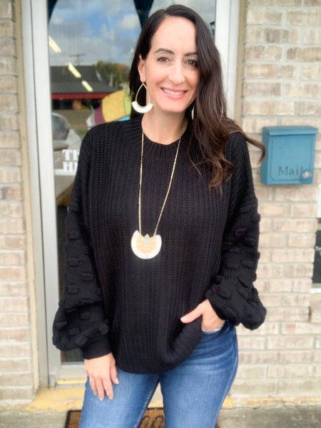 Black Bubble Sleeve Sweater