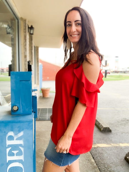 Red Off the Shoulder Ruffle Blouse