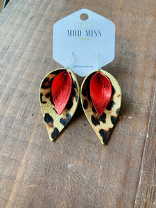 Leopard and Red Leather Earrings