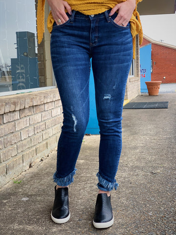 KanCan Frayed Dark Skinny Denim