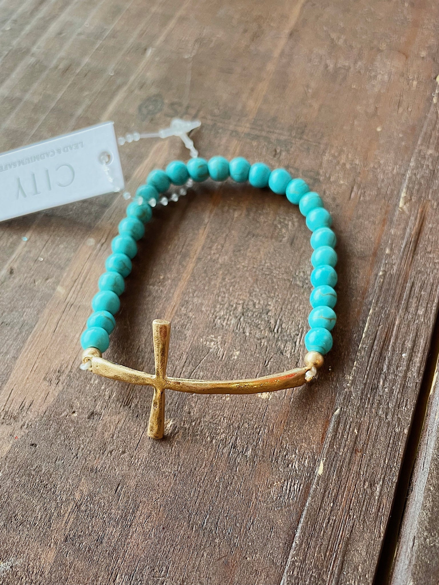 Turquoise Stone Beaded Cross Bracelet