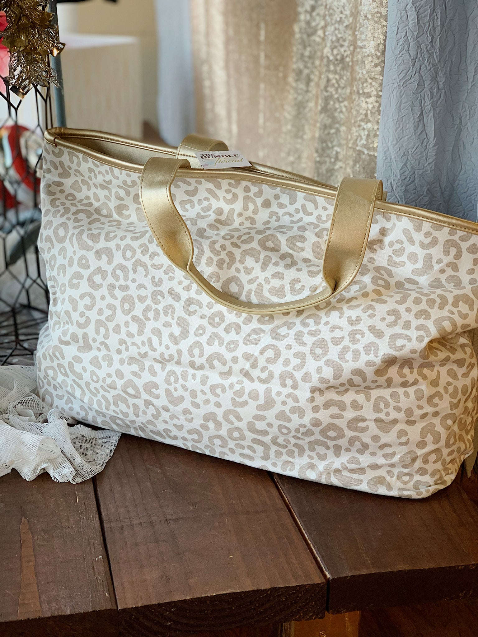 Gold Leopard Canvas Bag