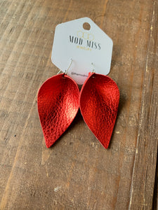 Metallic Red Leather Earrings