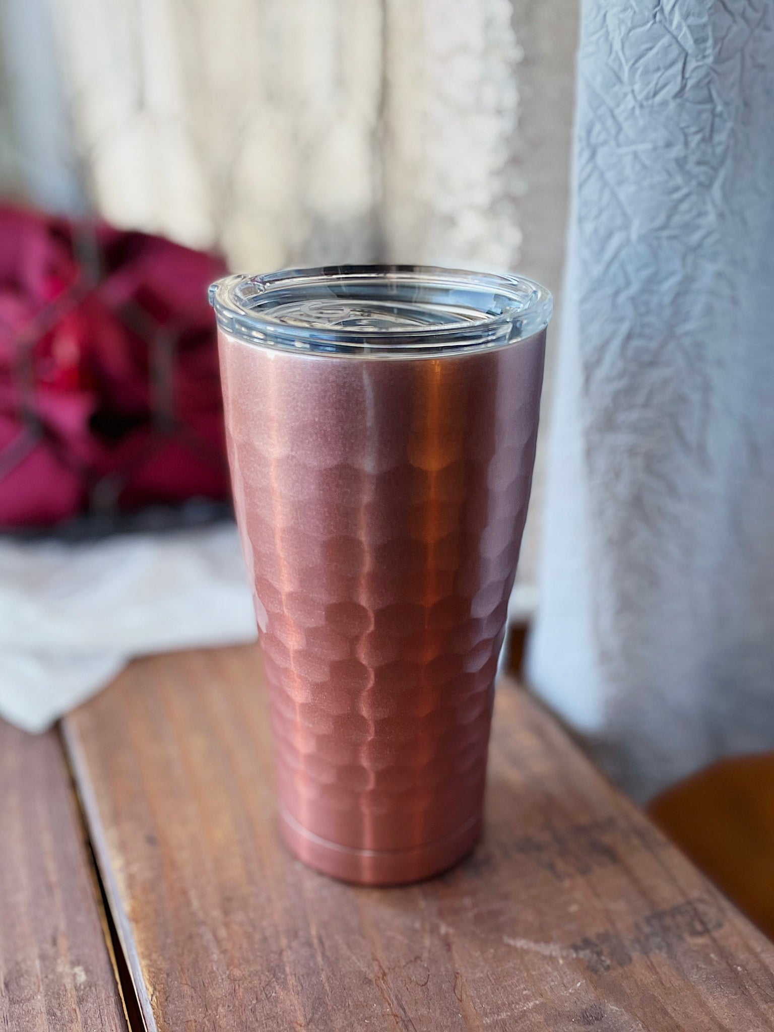 Rose Gold Hammered Tumbler