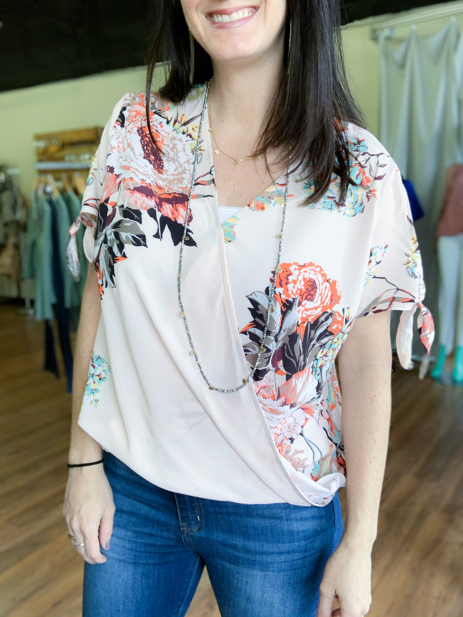 Cream Floral Cross Top