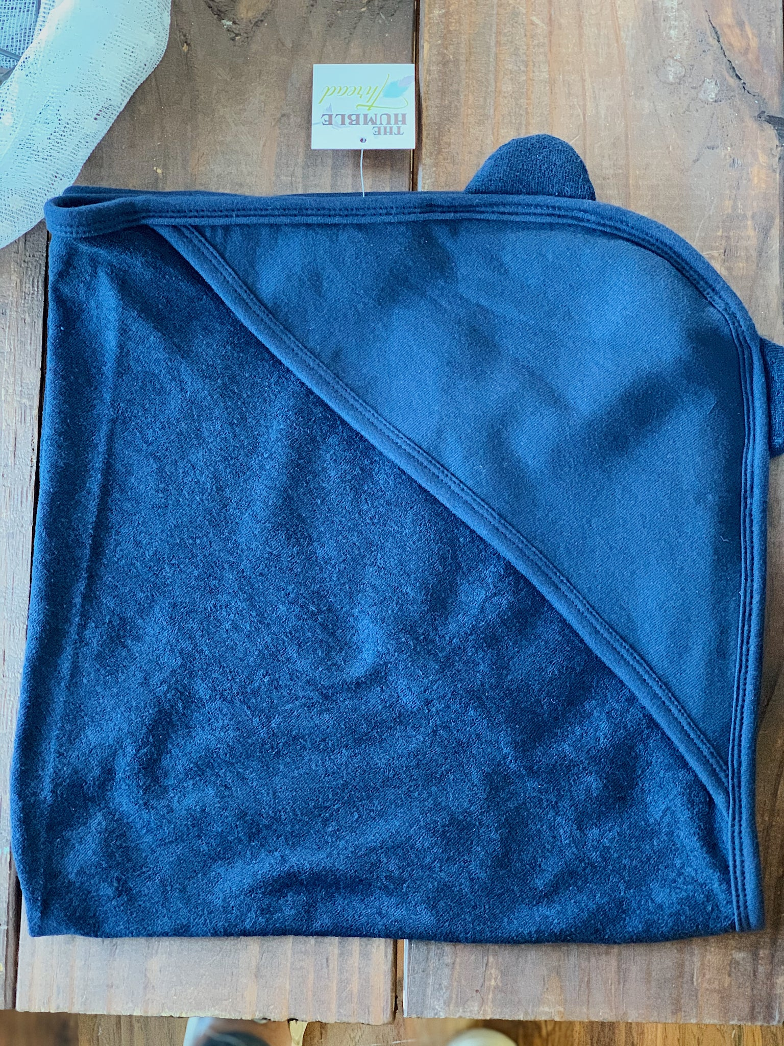 Navy Baby Hooded Bath Towel