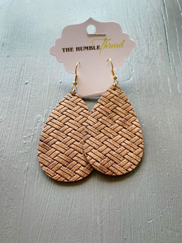 Brown Weave Leather Earrings