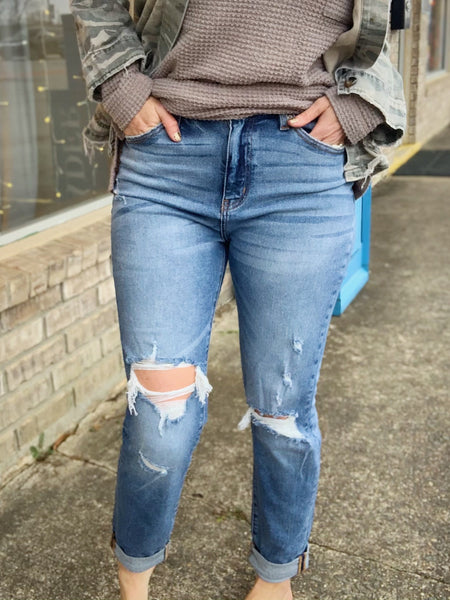 Kancan Distressed Mom Jeans