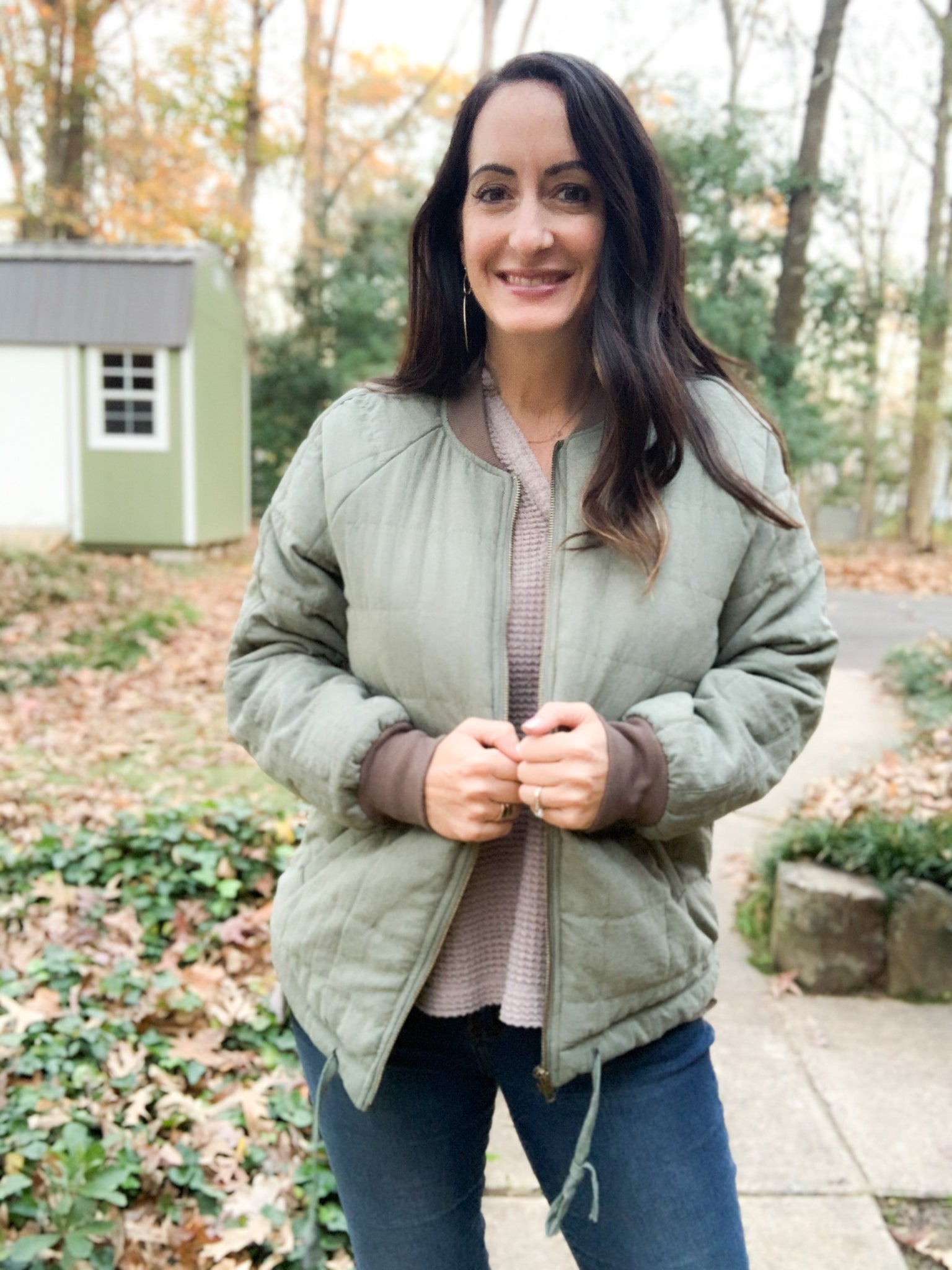 Olive Brushed Bomber Jacket