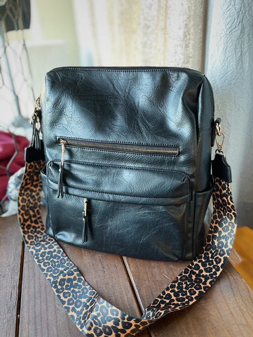 Black and Leopard Backpack Purse
