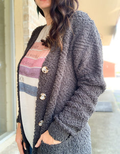 Charcoal Popcorn Button Down Cardigan
