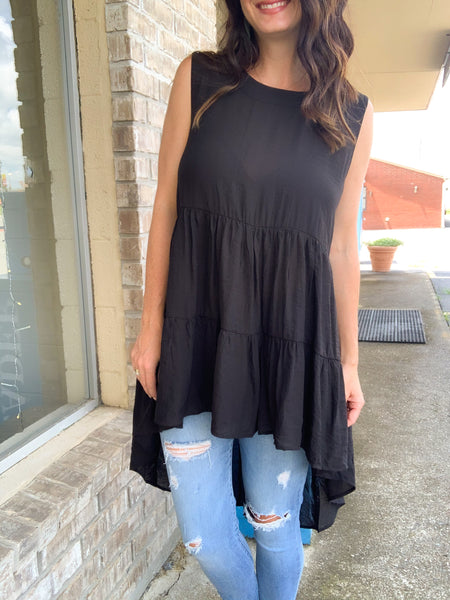Black Tiered High Low Tunic