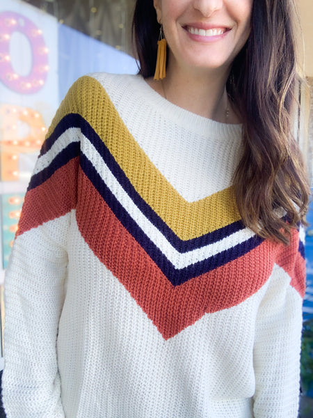 Multi-Color V Shape Knit Sweater