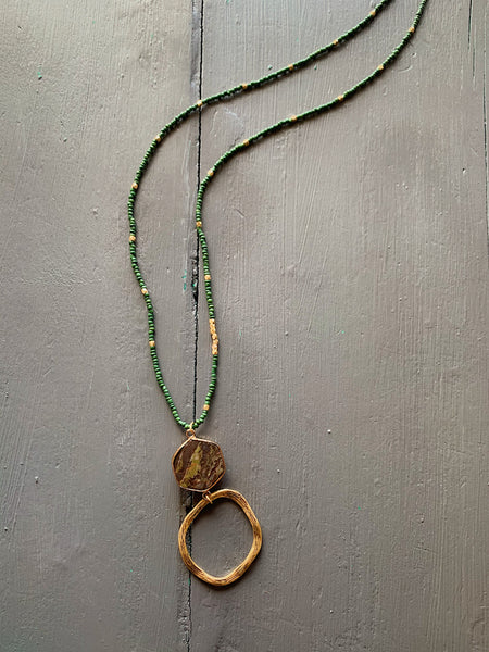 Green Beaded Necklace With Natural Stone