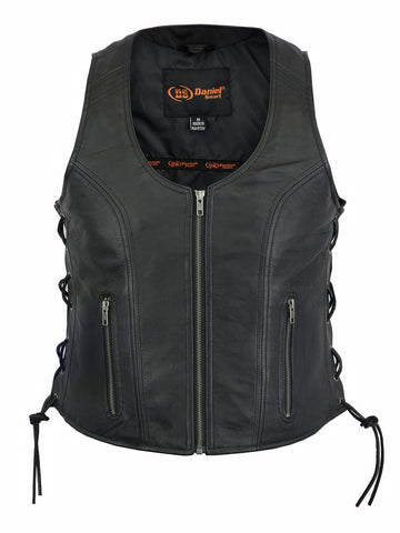 DS245 Womens Leather Motorcycle Vest