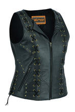 Load image into Gallery viewer, DS233 Women's Zippered Vest with Lacing Details