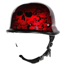 H82 Novelty German Burgundy Skull Graveyard - Non DOT