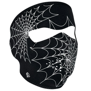 WNFM057G ZAN® Full Mask- Neoprene- Spider Web, Glow in the Dark