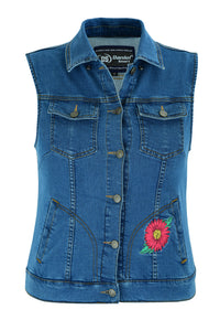 DM944 Women's Blue Denim Snap Front Vest with Red Daisy