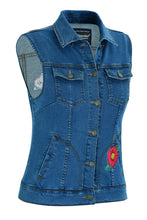Load image into Gallery viewer, DM944 Women's Blue Denim Snap Front Vest with Red Daisy