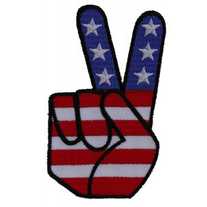 P6034 Peace Hand Sign with American Flag Patriotic Iron on Patch
