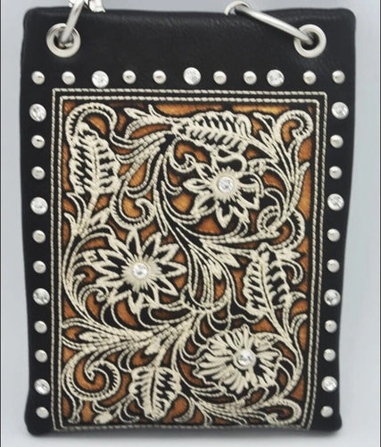 CHIC802-BLK Western boot pattern style with Floral design