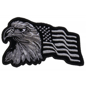P3960 Eagle With Waving Flag Black Silver Patriotic Iron on Patch