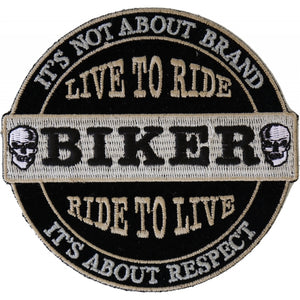 P4634 It's Not About Brand, It's About Respect Biker Patch Small