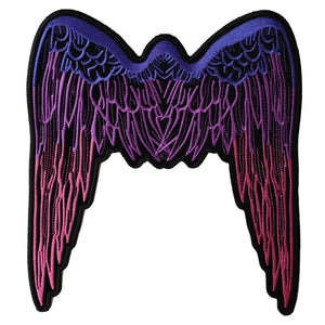 PL2648 Pink Angel Wings Large Embroidered Iron on Patch
