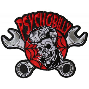 P6369 Psychobilly Skull and Wrenches Patch