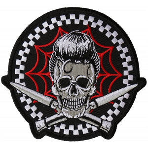 P6395 Switchblades Billy Skull Spider Web Patch
