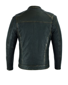 DS743 Men's Cruiser Jacket in Lightweight Drum Dyed Distressed Naked