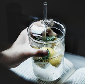 Glass Cup With Lid & Straw