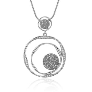 2 Circles Pendant With Long Necklace