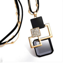 Load image into Gallery viewer, Geometric Squares Pendant With Diamantes