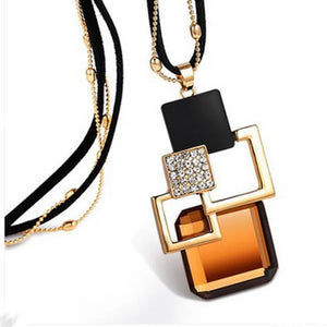 Geometric Squares Pendant With Diamantes