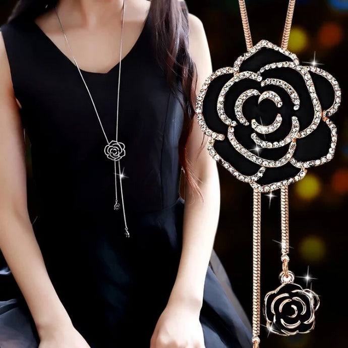 Black Rose Flower Pendant Long Chain