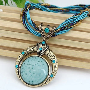 Elegant Stone Vintage Necklace - Blue